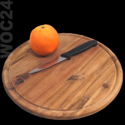 AKAZIE Schneidebrett Fleischteller Vesperteller Holzteller Pizzateller Holz Ø30