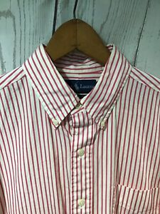 Polo-Ralph-Lauren-Large-Custom-Fit-Pink-White-Striped-Button-Front-Shirt-Cotton