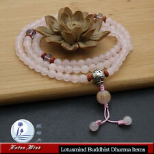 Lotusmind Rose Quartz 6mm 108 Prayer beads Mala Mani mantra pendant