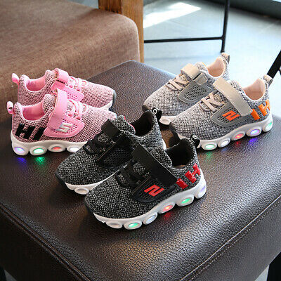 Kids Infant Baby Boy Girl Breathable Sports Shoes LED Luminous Sneakers Trainers