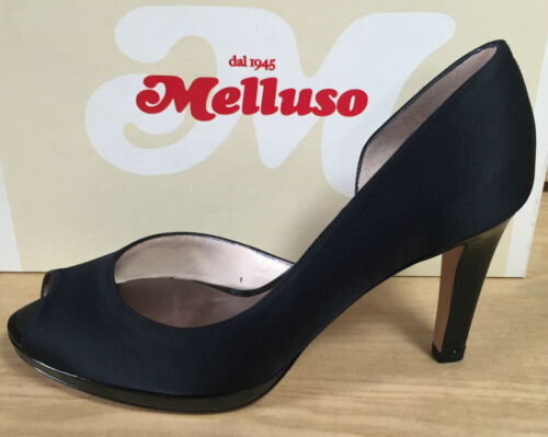 Plateau Satin Melluso High Damesko Black Blunt Sko Heel Court And qwvwPz