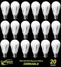 20 x DIMMABLE LED 12W Pearl Light Globes / Bulbs A60 GLS Bayonet B22 Warm White