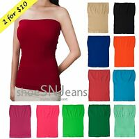 Seamless Layering Solid Color Strapless Basic Stretch Plain Tee Tube Top