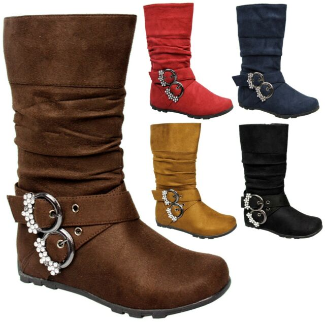 NEW Girl Kids Strappy Rhinestone Buckle Flat Heel Wrinkle Slouch Suede Boot Shoe
