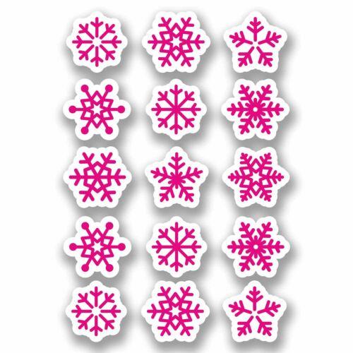 A4 Sheet 15 x Pink Snowflake Vinyl Stickers Christmas Window Decoration #9698