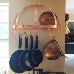 Details about Old Dutch Hanging Pot Half Rack Pan Holder Kitchen Organizer  w/ 12 Hooks Copper