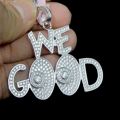 New White Gold Finish Real Sterling Silver Tarnish Free Blessed Charm Necklace