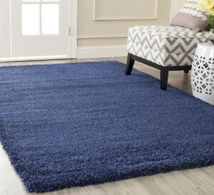 blue navy shag area rug rugs 4 39 x 6 39 8 39 10 39 9 39 12 39 10 39 13 39 8 10 4 6 5 8 7 11 15 ebay. Black Bedroom Furniture Sets. Home Design Ideas