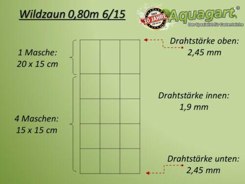 50m Wildzaun Forstzaun Knotengeflecht Weidezaun Drahtzaun 80//6//15 Schwer