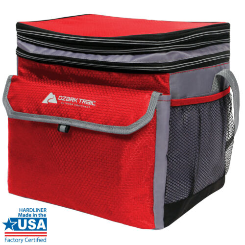 +Expandable Top Compartment Red Soft Side Cooler W// Removable Hardliner 24 Can