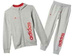 Adidas-Filles-Gris-Capuche-Fermeture-eclair-survetement-tailles-variees