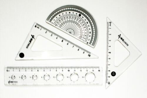Back to School Compact Maths Geometry Set with Ruler Protractor Set Squares Kids