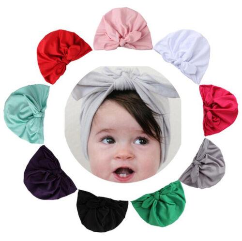 Cute Kids Baby Girls Turban Bow Knot Head Wrap Bunny Rabbit Ear Hat Cotton Cap