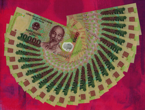 Vietnam Dong Banknotes Currency Lot ¼ Million UNC VND 25PCS 25 x 10,000 10000
