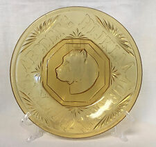 """EAPG Antique AMBER Glass DOG """"ROVER"""" ALPHABET PLATE Bryce Higbee Childrens Toy"""