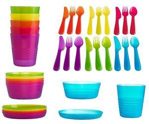 Ikea Kalas Baby Kids Plastic Cutlery Cups Plates Bowls