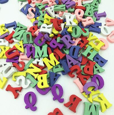 HOT 100PCs Wooden Embellishments Letters Shape Mixed Colors 15mm (Random Mixed)