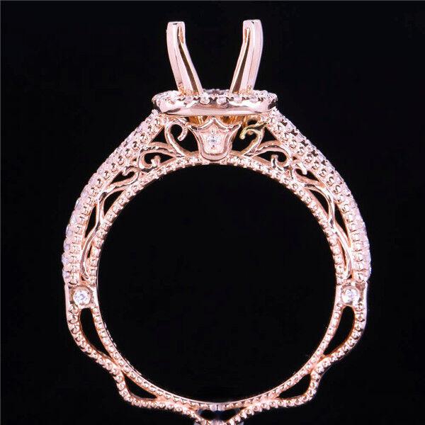 Beautiful Lady New! Solid 14K pink gold Natural Diamond Semi Mount Ring Setting