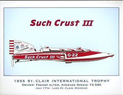 Clair Intl Trophy Hydroplane Print Such Crust III 1955 St by R.J Tully