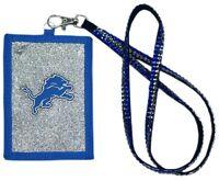 Detroit Lions Beaded Lanyard Id Credit Card Zipper Pocket Wallet Football