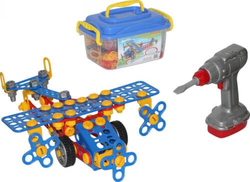 Konstruktionsset Flugzeug Werkzeug Baukasten Kinder Bausteine 55217 144 tlg