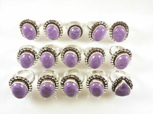 5 Pcs Wholesale Lot Charoite Gemstone 925 Sterling Solid Silver Ring BR-13