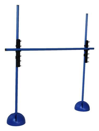 Sprungstangen-Set 3 Stangen 120 cm, 2 X-Standfüße, 2 Leiterhürden blau