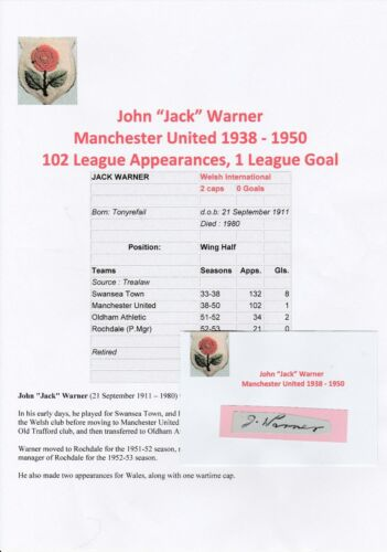 JACK WARNER MANCHESTER UNITED 19381950 VERY RARE ORIGINAL HAND SIGNED CUTTING