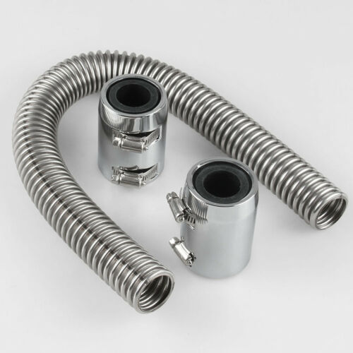 """Flexible 24/"""" Stainless Steel Radiator Coolant Water Hose Kit with Caps Universal"""