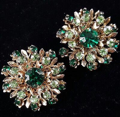 Large Vintage Clip Earrings Green Crystal Rhinestone Flower Leaf Tier BIN118