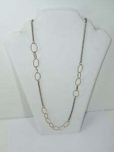 Rachel-Silver-and-Gold-Tone-Hoops-Necklace-30-034-USA-Seller