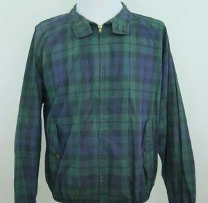 Polo-Ralph-Lauren-Mens-Golf-Green-Tartan-Harrington-Vented-Windbreaker-Jacket-XL