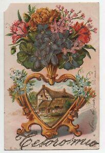 Mazzo Di Fiori Auguri.Cartolina Antica Illustrata E Goffrata Auguri Mazzo Di Fiori