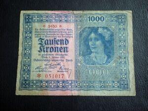 AUSTRIA-BANKNOTE-1000-KRONEN-1922-DEUTSCHOSTERREICH-WIEN