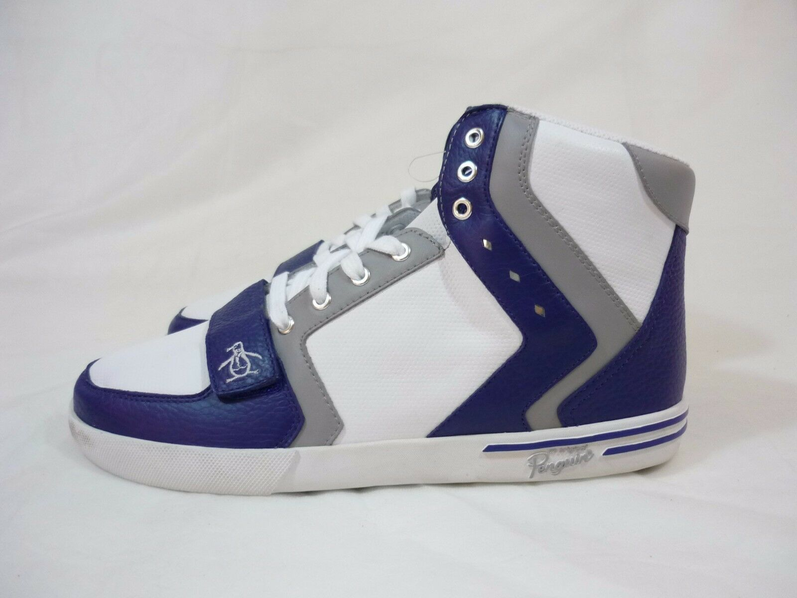 Original Penguin Moby Hi Top Leather Sneakers Men's shoes White bluee Grey Size 9