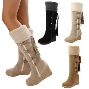 Ladies-Faux-Suede-Fur-Women-Warm-Wedge-Heel-Lace-Up-Knee-High-Boot-Winter-Shoes