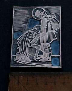 BIBLISCHE-SZENE-Galvano-Druckstock-Kupferklischee-Druckplatte-Eichenberg-Drucken