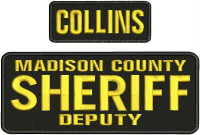 NASSAU COUNTY SHERIFF DEPUTY EMB PATCH 4X10 AND 2X5 HOOK ON BACK BLK//GOLD