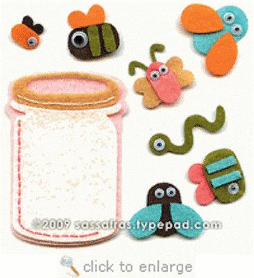 Felties Jar of Critters Self-Adhesive 8 Pieces Sassafras Lass