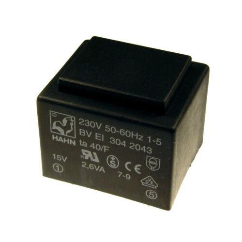 Hahn Print Trafo 230V Printtrafo 2,6VA 15V Netztrafo Transformator 853584