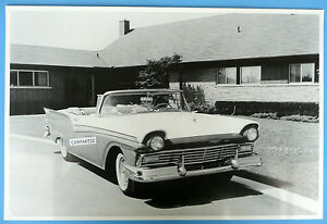 """12 By 18"""" Black & White Picture 1957 Ford Fairlane Convertible Top Down"""