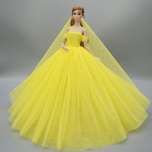 """Yellow Fashion Wedding Dress for 11.5/"""" Doll Clothes Evening Dresses Gown Outfits"""