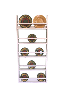 Country Rustic Plate Rack Stand Farmhouse Plate Rack Wall Hanging