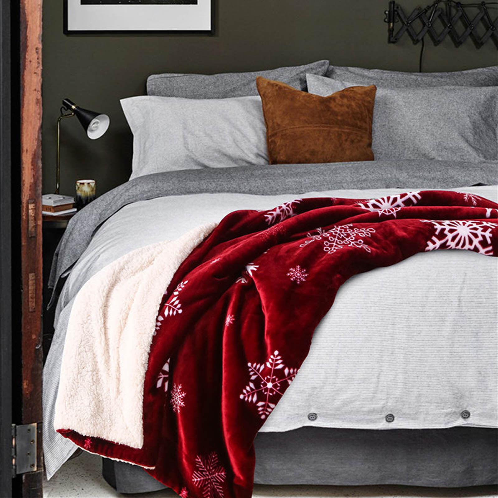Plush Throw Blanket Snowflake Design, Red White Great Gift For Christmas, New