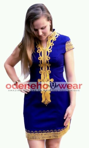 Odeneho Wear Orange Polished Cotton Dress//Green Embroidery.African Clothing