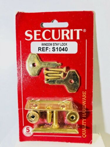 Securit S1040 Window Stay Lock /& accessoires-Twin Pack Laiton Plaqué