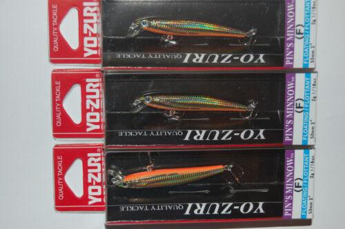 3 lures yo zuri pins pin's minnow f196-m37  2 1/16oz gold flame trout lure