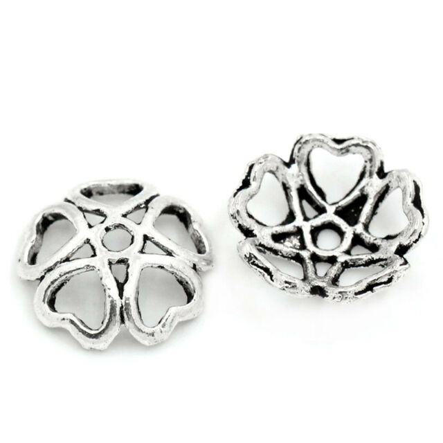 "100PCs Metal Bead Caps Hollow Flower Silver Tone 10mmx10mm(3/8""x3/8"")"