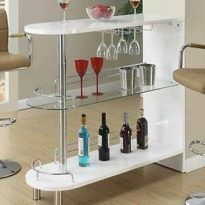 Contemporary Home Pub White High Gloss Bar Table Glass Shelves Wine