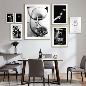 Black /& White Coffee Wine Canvas Painting Picture Office Kitchen Art Print Decor